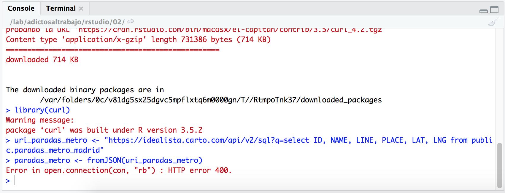 Error in open connection al leer un JSON con R