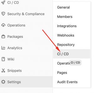 Panel de settings y opción de CI/CD marcada