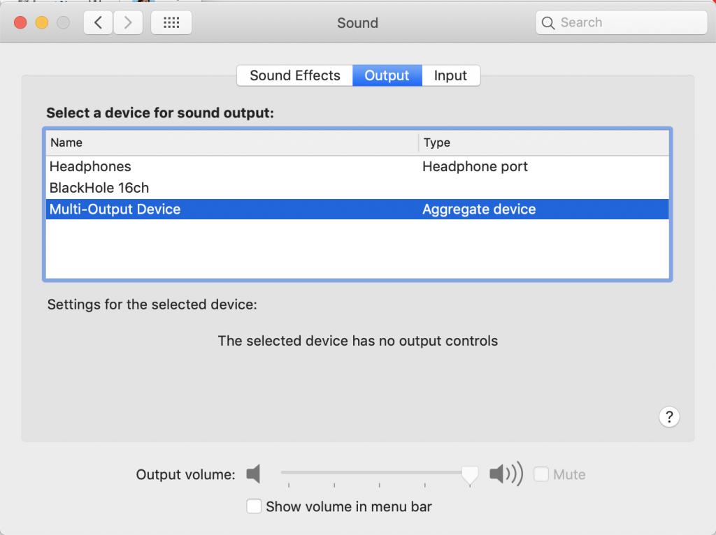 """Captura de pantalla """"Selección de Multi-Output Device como fuente de salida"""""""