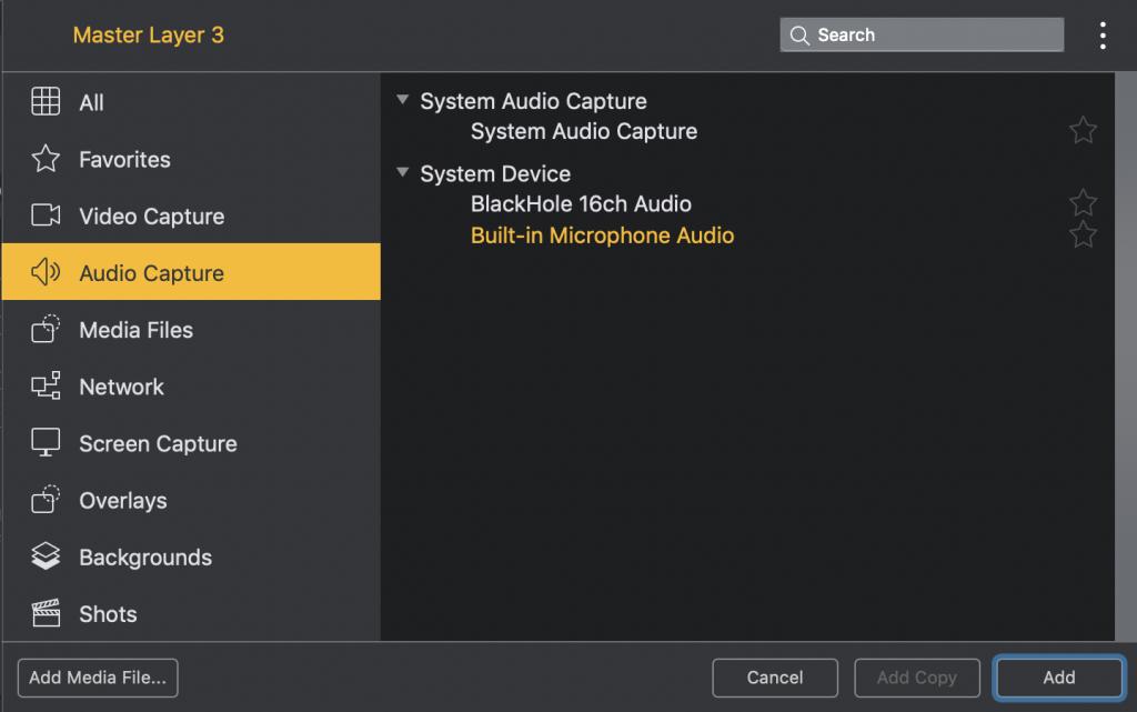 """Captura de pantalla """"Añadir fuente de audio del micrófono"""""""