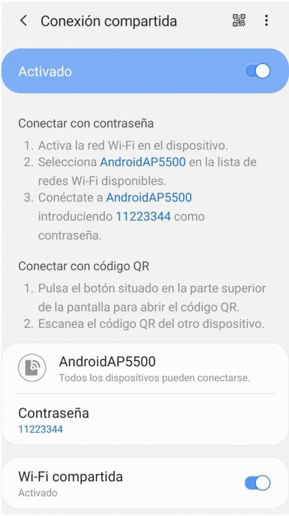 Captura de pantalla conexión compartida móvil