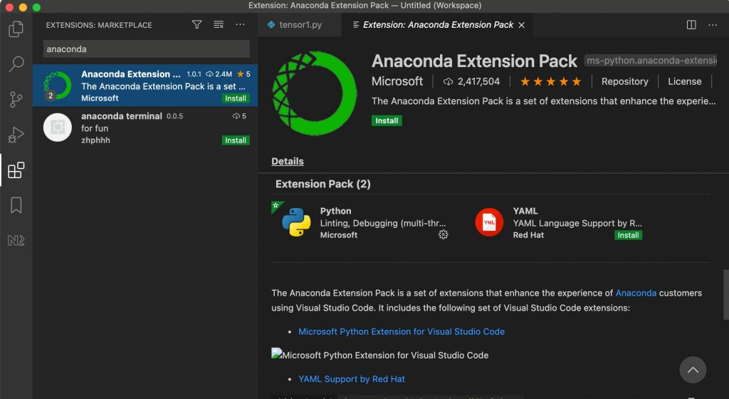 Anaconda Extension Pack