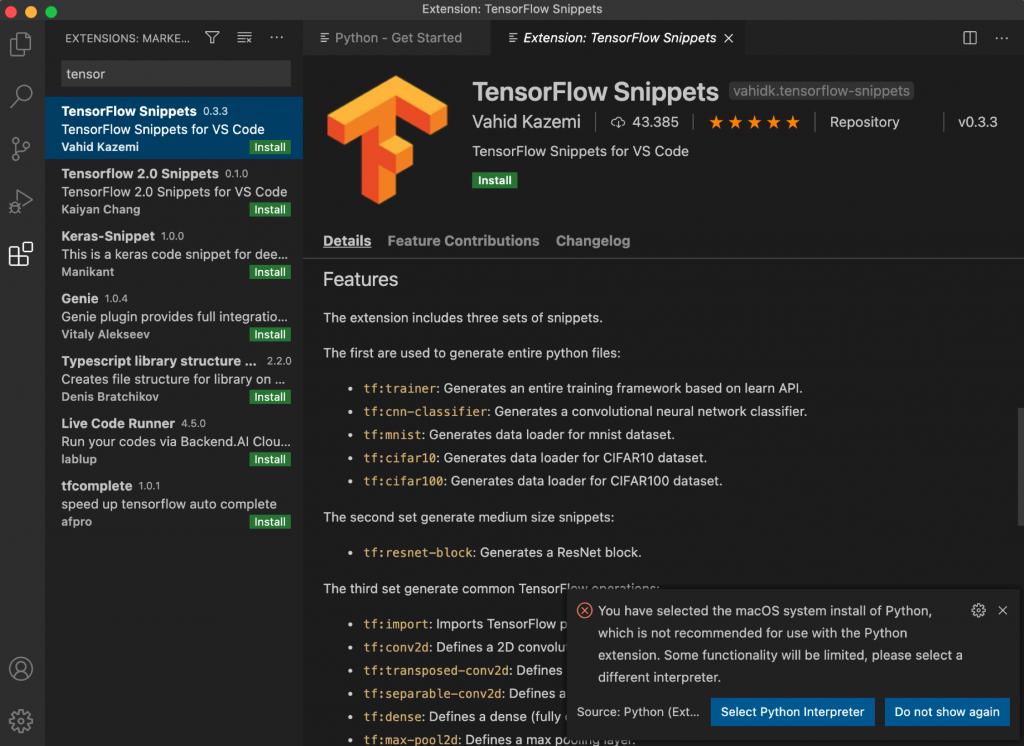 Snippets de TensorFlow en la sección de extensiones