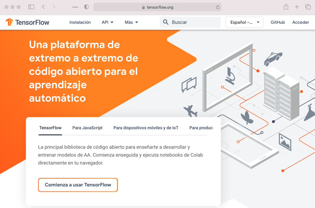 Tensorflow web page