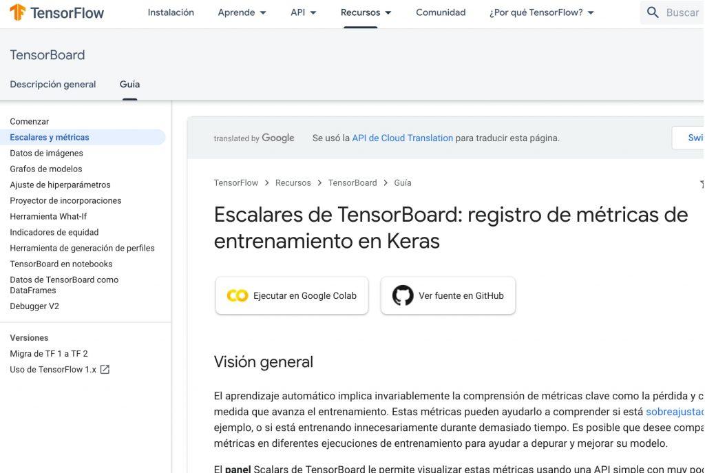 Escalares de TensorBoard: registro de métricas de entrenamiento en Keras