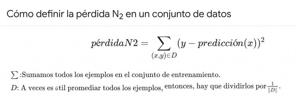 Cómo definir la pérdida N2 en un conjunto de datos