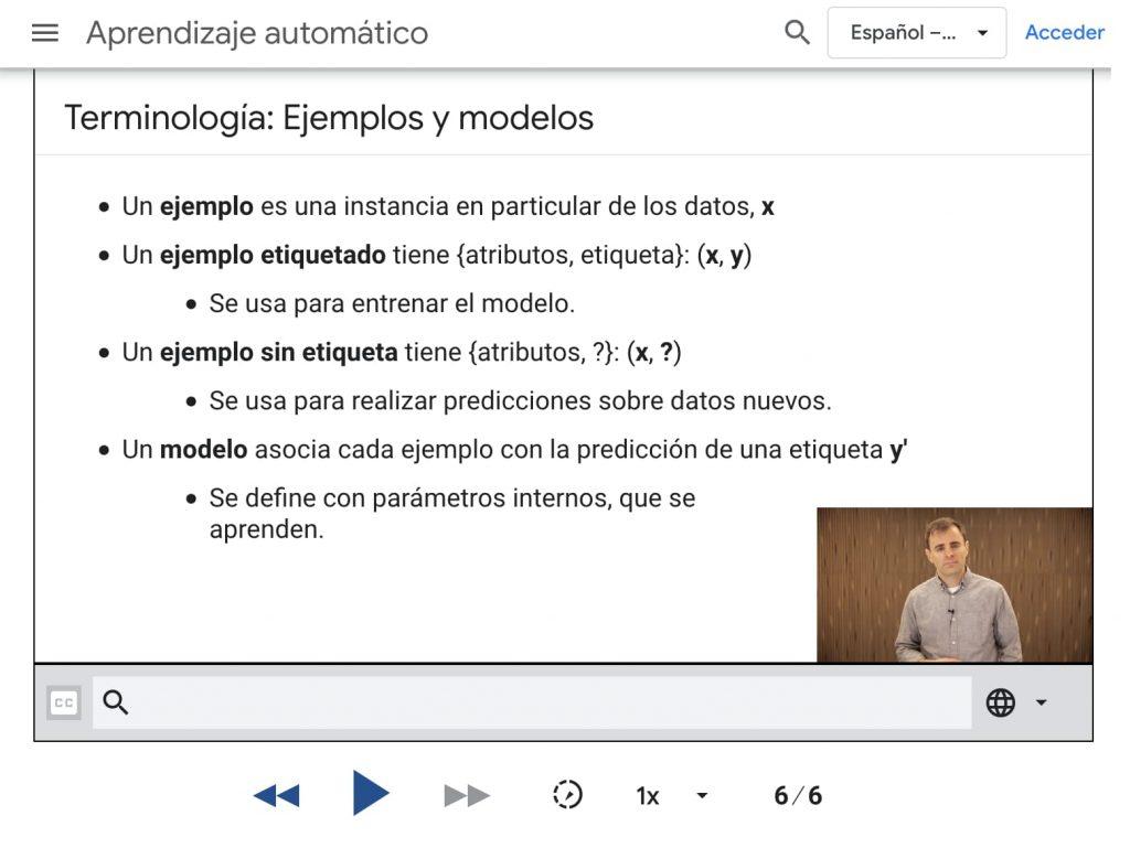 Captura de pantalla con slide sobre Aprendizaje automático. Terminologías: ejemplos y modelos.