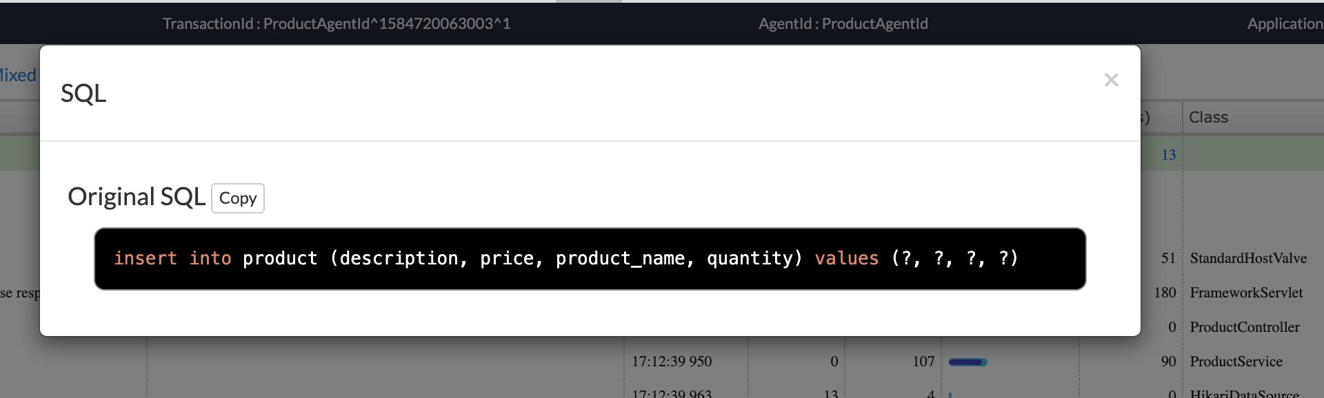 imagen donde se describe la sentencia SQL introducida a la base de datos