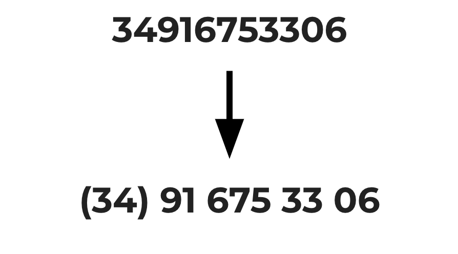 34916753306 -> (34) 91 675 33 06
