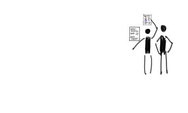 Ilustración de dos humanos ponen 2 folios sobre la pared con información