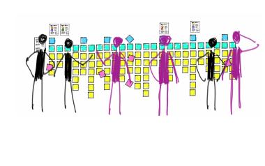 Ilustración de tres humanos pintados de un color y 3 de otro, frente a una pared llena de post-its