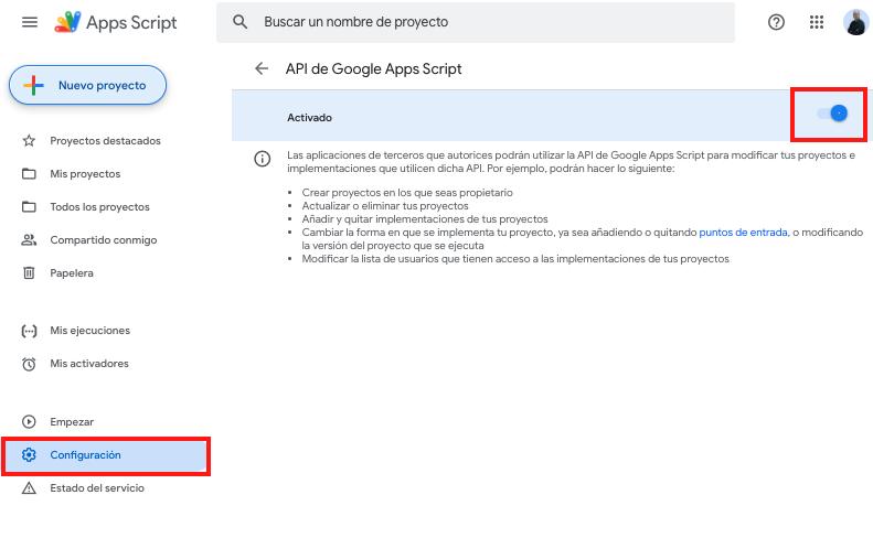 imagen donde autorizamos el uso de la api de Google App Script por terceros