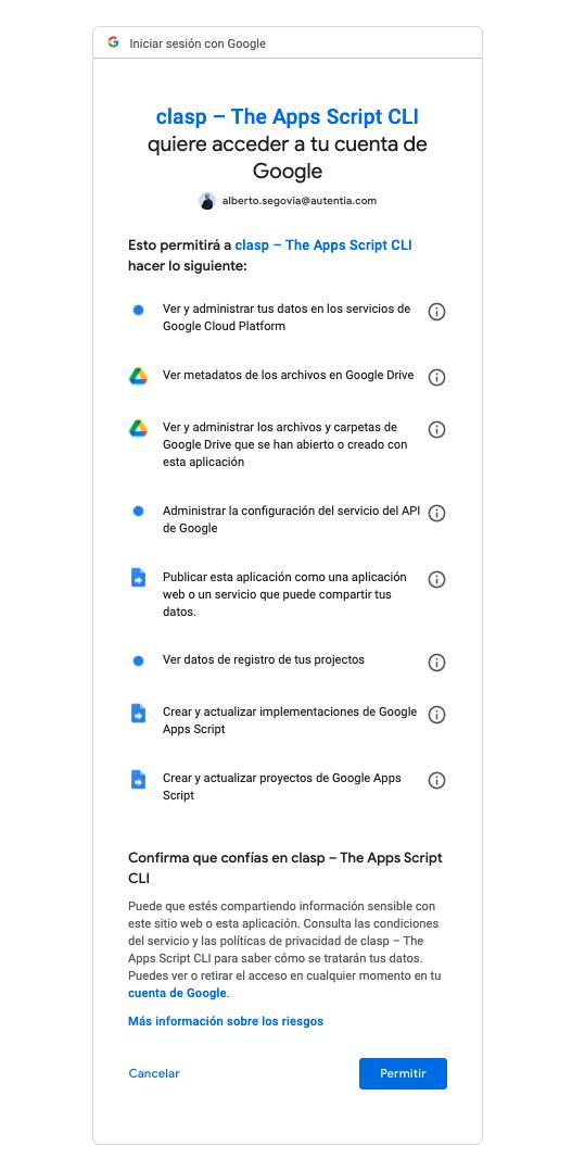 Imagen que muestra cómo dar permisos al cliente Clasp en nuestra cuenta de Google
