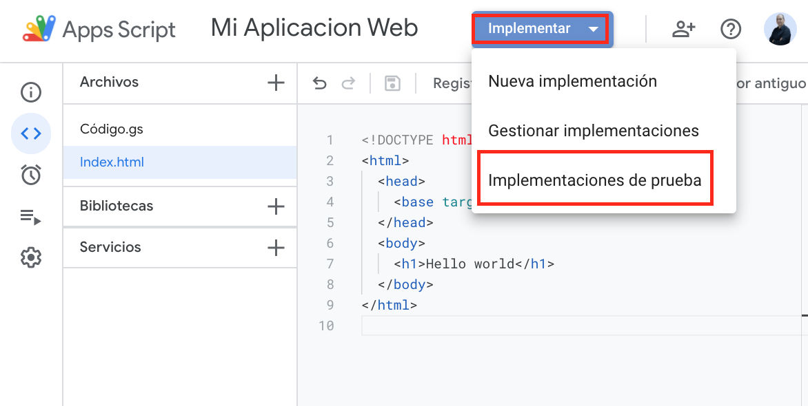 Implementacion de prueba por web