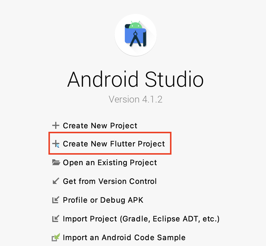 Android Studio create flutter project button