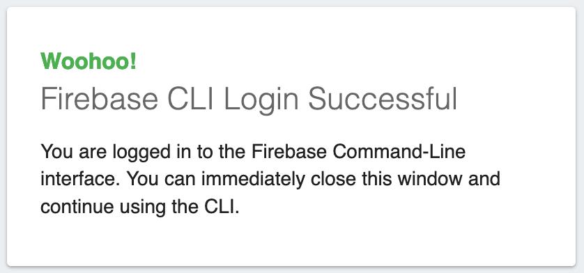 Mensaje de login con firebase cli