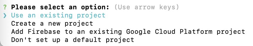 seleccionar opción de seleccionar proyecto ya creado