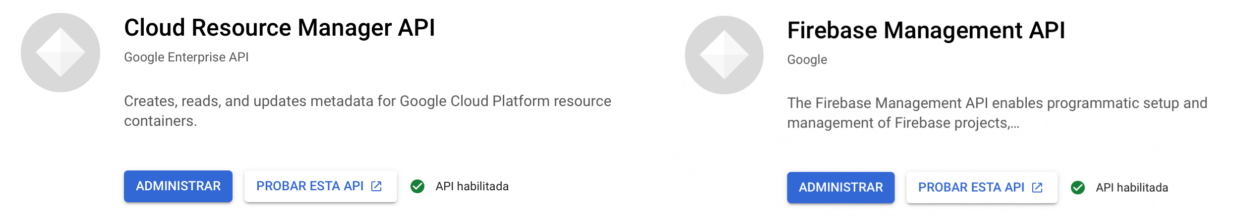 Cloud Resource Manager API y Firebase Management API