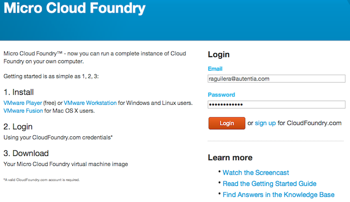 Login en Cloud Foundry