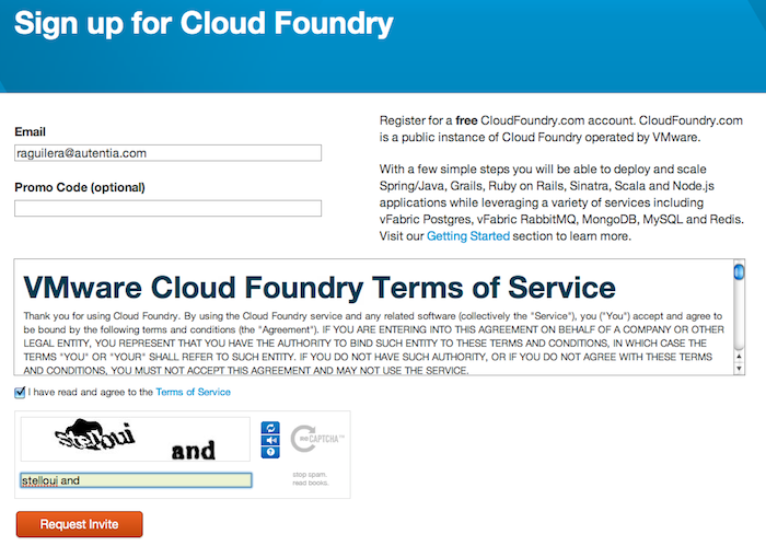 Formulario de registro en Cloud Foundry