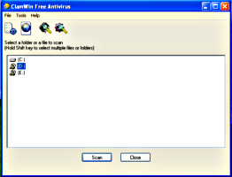 Interfaz del antivirus ClamWin Free Antivirus 0.92