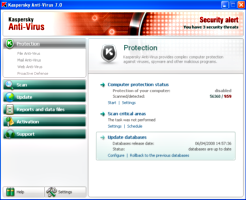 Interfaz del antivirus Kaspersky Anti-Virus 7.0.1.325