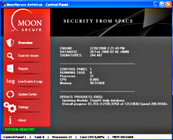 Interfaz del antivirus Moon Secure Antivirus 2.2.2161