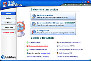 Interfaz del antivirus PC Tools Antivirus 4.0