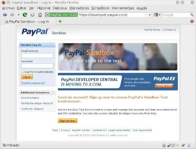 Entorno de pruebas de Paypal