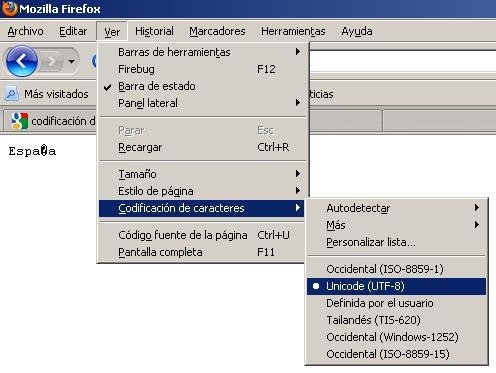 España en ISO-8859-1 leído en UTF-8