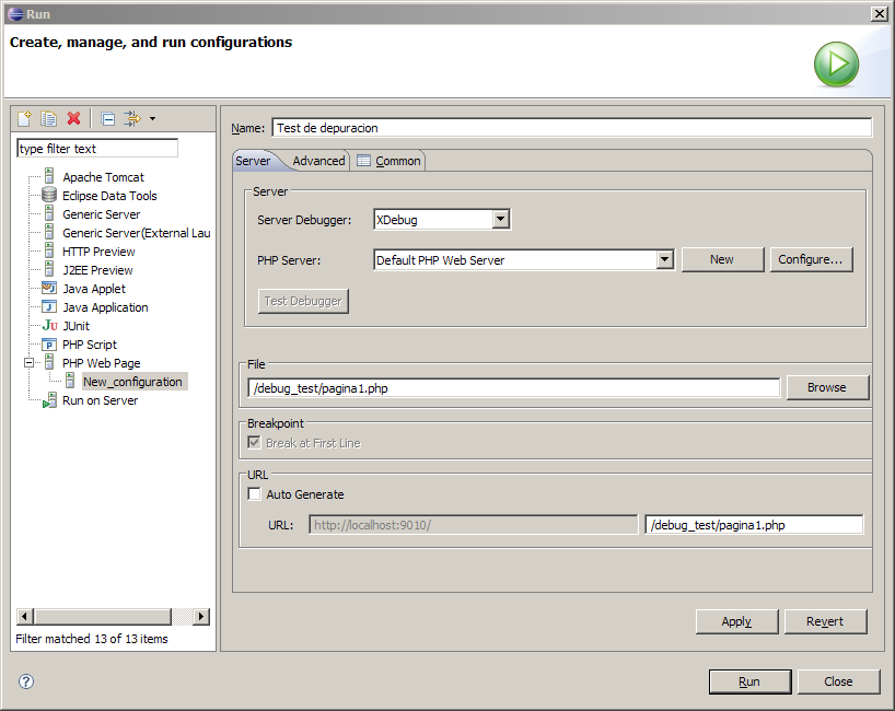 Eclipse PDT Configuration Launch con XDebug para el proyecto debug_test