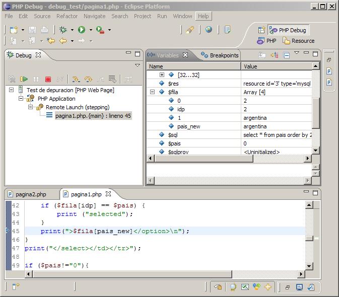 Depurando el script PHP con Xdebug en Eclipse PDT