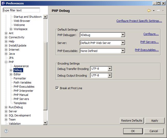 Configurar Xdebug como PHP debugger en Eclipse PDT