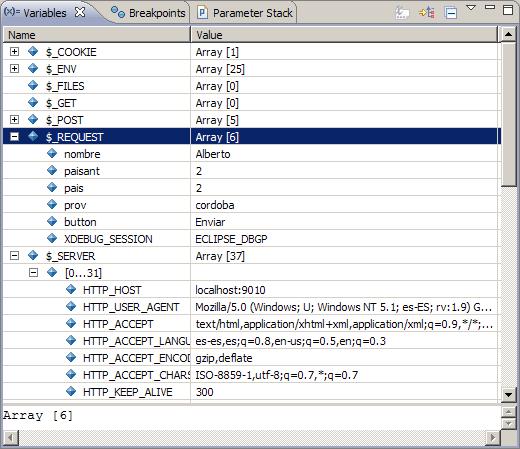Informacion de depuracion con Xdebug en Eclipse PDT