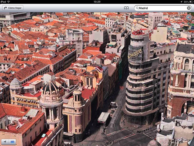 Vista la gran via de Madrid en 3D