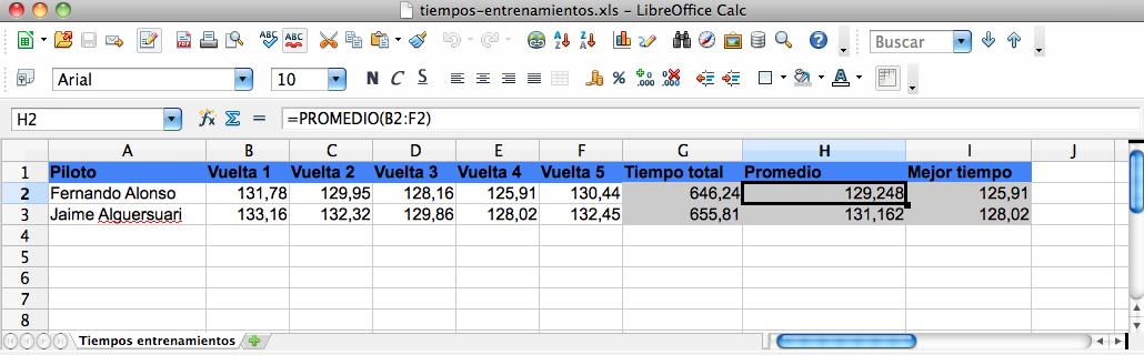 formulas en hoja electronica de calculo: