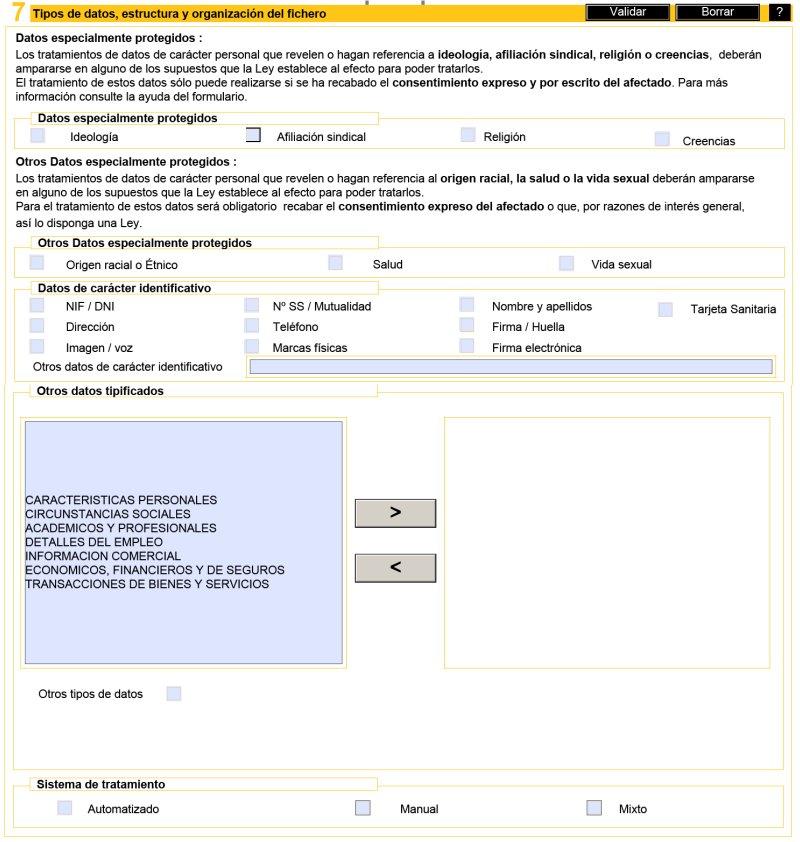 Registro de un fichero de datos personales con el formulario NOTA ...