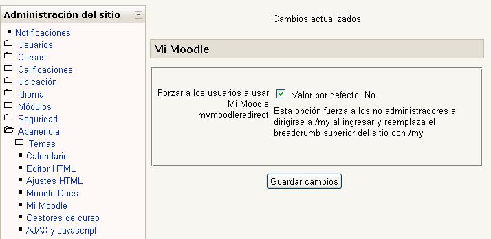 """Activar opción """"Mi Moodle"""""""