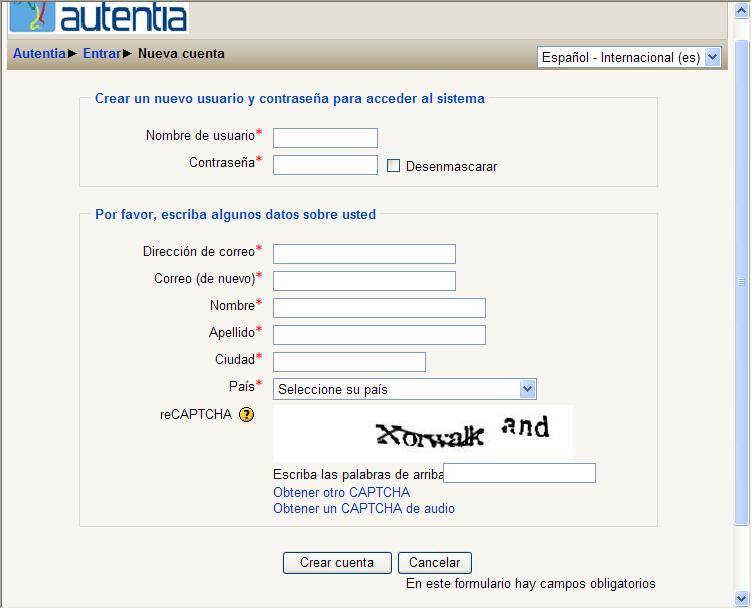Página de registro de usuarios en Moodle