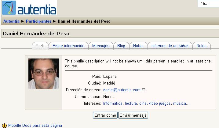 Página de perfil de usuario