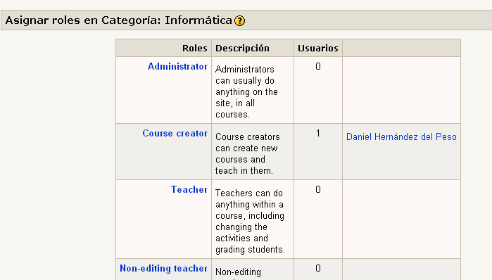 Agregar roles a una categoría