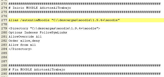 Configuración de Moodle en Apache