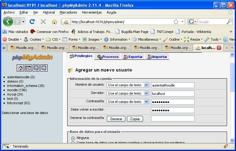 Creación de usuario de Base de datos 'auteniaMoodle'