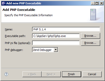 Añadir ejecutable php.exe