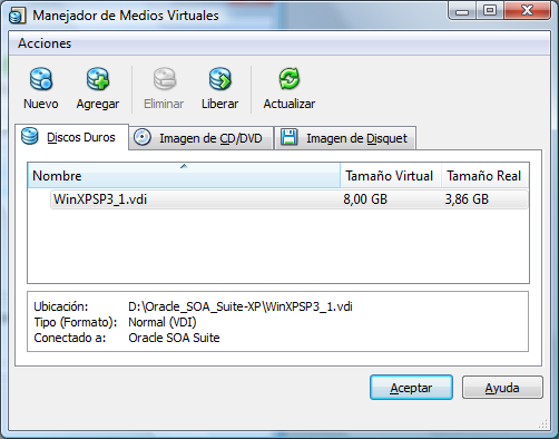 Disco duro inicial de 8 GB en VirtualBox