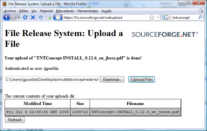 Upload de ficheros de la release mediante pagina web de sourceforge