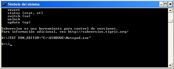 Creación de la variable SVN_EDITOR