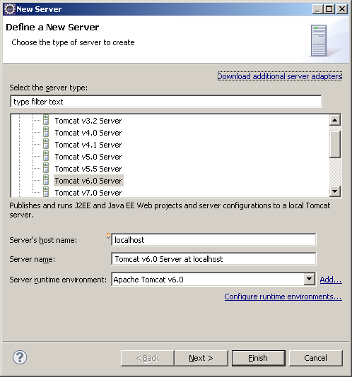 Eclipse server configuration