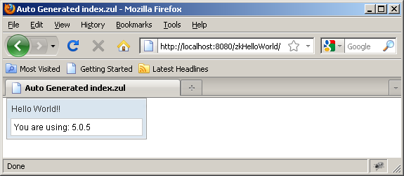 zkHelloWorld visto en Firefox