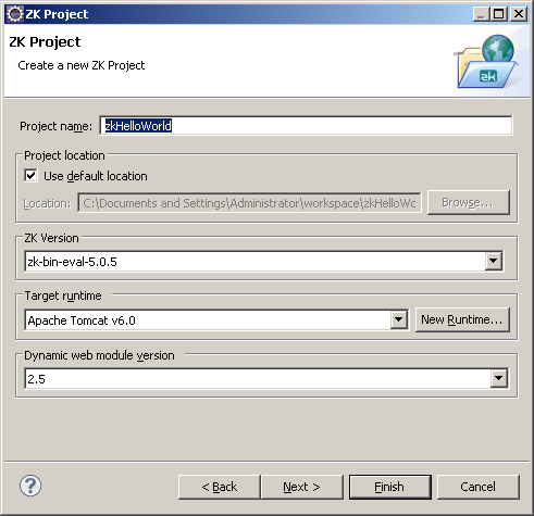 Eclipse, zk project properties